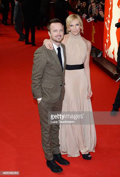 Aaron Paul and Toni Collette attend the 'A Long Way Down' premiere during the 64th Berlinale International Film Festival at the FriedrichstadtPalast...