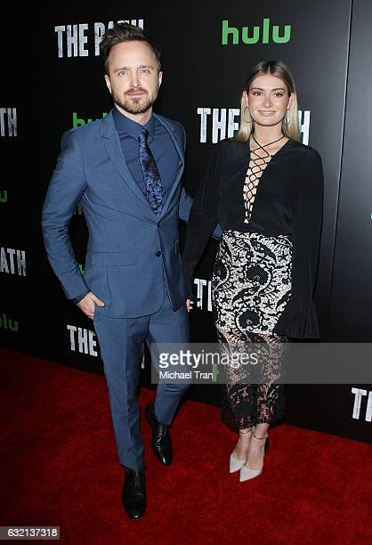 Aaron Paul and wife Lauren Parsekian arrive at the Los Angeles premiere of Hulu's 'The Path' season 2 held at Sundance Sunset Cinema on January 19...