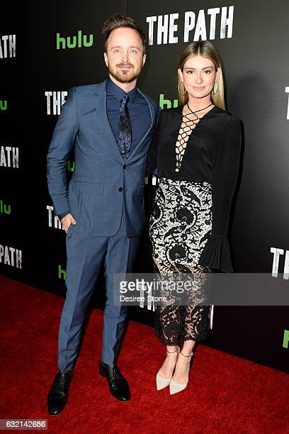 Aaron Paul and wife Lauren Paul attend the premiere of Hulu's 'The Path' Season 2 at Sundance Sunset Cinema on January 19 2017 in Los Angeles...