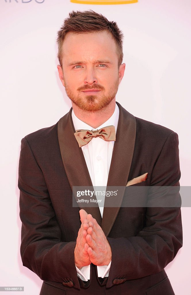 Aaron Paul arrives at the 64th Primetime Emmy Awards at Nokia Theatre L.A. Live on September 23, 2012 in Los Angeles, California.