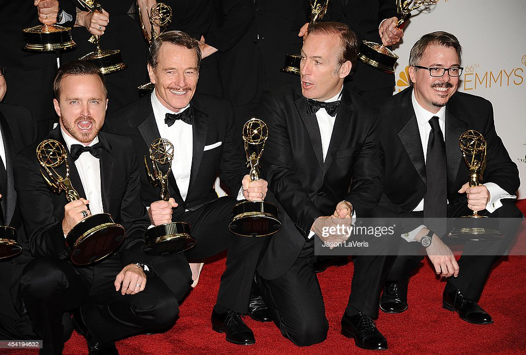 Aaron Paul Bryan Cranston Bob Odenkirk and Vince Gilligan pose in the press room at the 66th annual Primetime Emmy Awards at Nokia Theatre LA Live on...