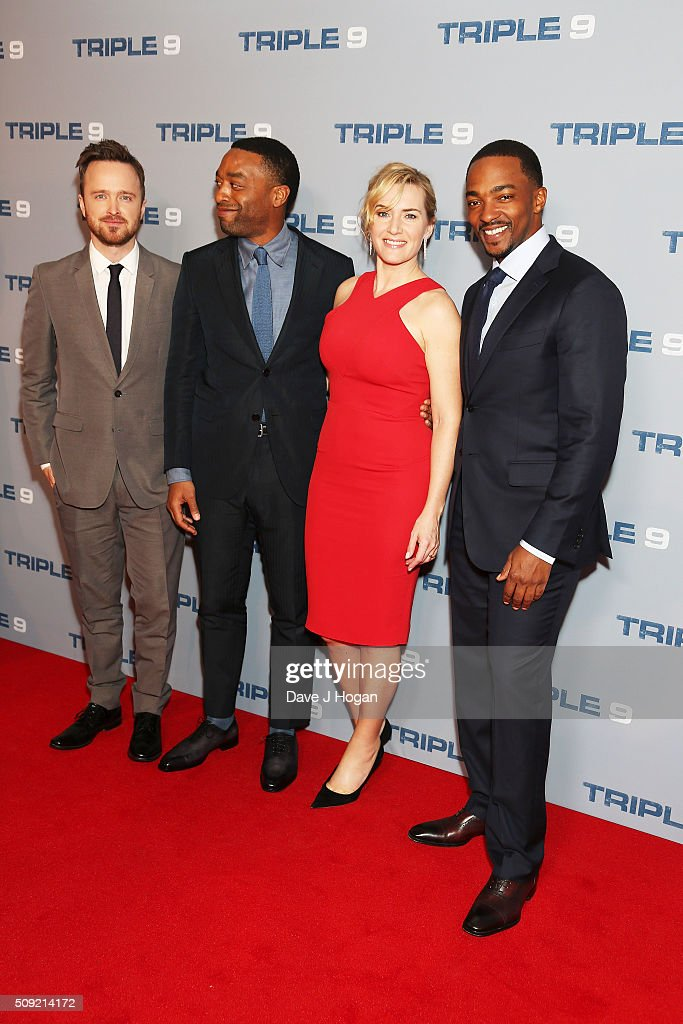Aaron Paul, <a gi-track='captionPersonalityLinkClicked' href=/galleries/search?phrase=Chiwetel+Ejiofor&family=editorial&specificpeople=213998 ng-click='$event.stopPropagation()'>Chiwetel Ejiofor</a>, <a gi-track='captionPersonalityLinkClicked' href=/galleries/search?phrase=Kate+Winslet&family=editorial&specificpeople=201923 ng-click='$event.stopPropagation()'>Kate Winslet</a> and <a gi-track='captionPersonalityLinkClicked' href=/galleries/search?phrase=Anthony+Mackie&family=editorial&specificpeople=206212 ng-click='$event.stopPropagation()'>Anthony Mackie</a> attend a special screening of 'Triple 9' at Ham Yard Hotel on February 9, 2016 in London, England.