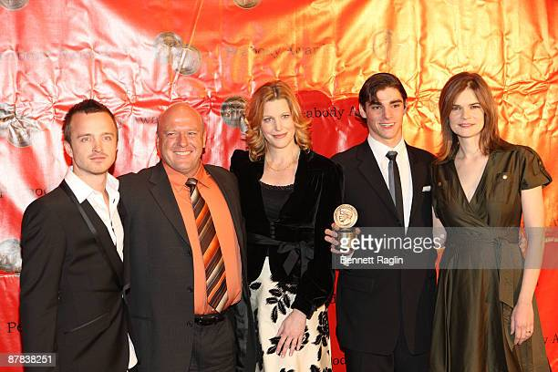 Aaron Paul Dean Norris Anna Gunn RJ MitteBetsy Brandt receive the 68th annual George Foster Peabody awards at The Waldorf=Astoria on May 18 2009 in...