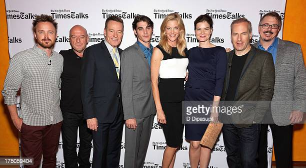 Aaron Paul Dean Norris Bryan Cranston RJ Mitte Anna Gunn Betsy Brandt Bob Odenkirk and Vince Gilligan attend TimesTalk Presents An Evening With...