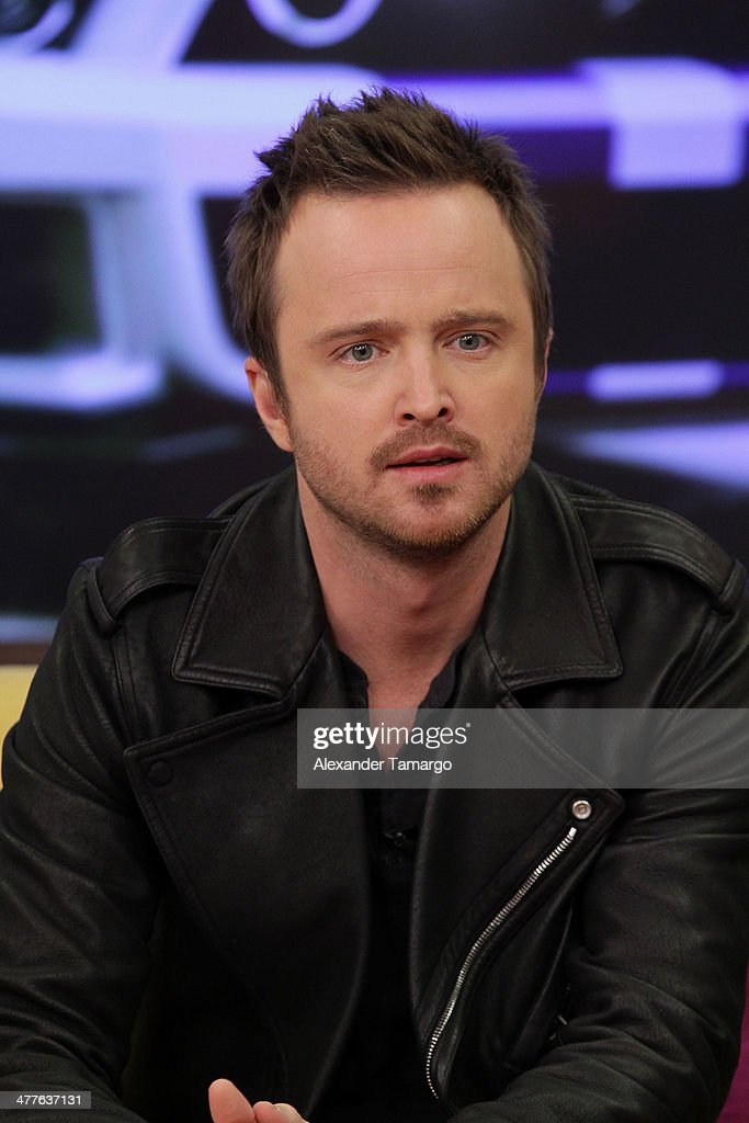 <a gi-track='captionPersonalityLinkClicked' href=/galleries/search?phrase=Aaron+Paul+-+Actor&family=editorial&specificpeople=693211 ng-click='$event.stopPropagation()'>Aaron Paul</a> is seen on the set of Univision's Despierta America morning show to promote the movie 'Need for Speed' at Univision Headquarters on March 10, 2014 in Miami, Florida.