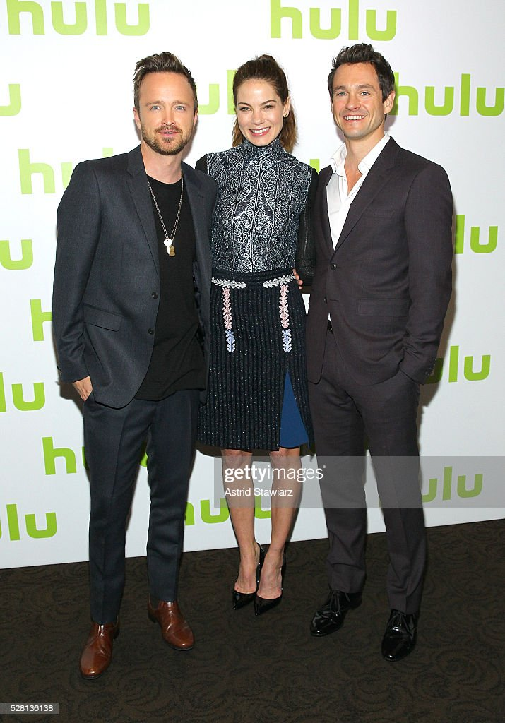 Aaron Paul, <a gi-track='captionPersonalityLinkClicked' href=/galleries/search?phrase=Michelle+Monaghan&family=editorial&specificpeople=213746 ng-click='$event.stopPropagation()'>Michelle Monaghan</a> and <a gi-track='captionPersonalityLinkClicked' href=/galleries/search?phrase=Hugh+Dancy&family=editorial&specificpeople=214056 ng-click='$event.stopPropagation()'>Hugh Dancy</a> attend the 2016 Hulu Upftont on May 04, 2016 in New York, New York.
