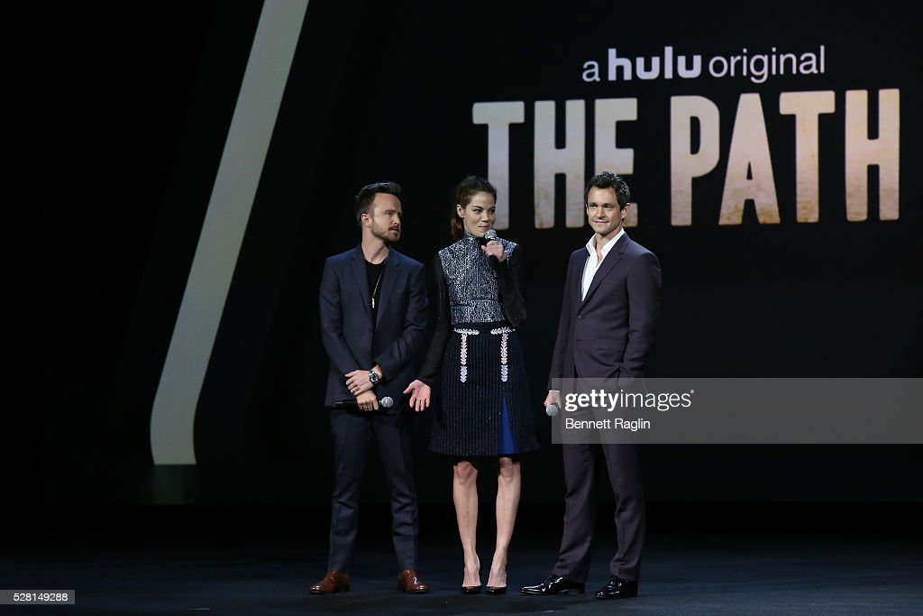 Aaron Paul, <a gi-track='captionPersonalityLinkClicked' href=/galleries/search?phrase=Michelle+Monaghan&family=editorial&specificpeople=213746 ng-click='$event.stopPropagation()'>Michelle Monaghan</a> and <a gi-track='captionPersonalityLinkClicked' href=/galleries/search?phrase=Hugh+Dancy&family=editorial&specificpeople=214056 ng-click='$event.stopPropagation()'>Hugh Dancy</a> of The Path speak onstage at the 2016 Hulu Upftont on May 04, 2016 in New York, New York.