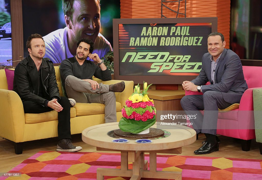 <a gi-track='captionPersonalityLinkClicked' href=/galleries/search?phrase=Aaron+Paul+-+Actor&family=editorial&specificpeople=693211 ng-click='$event.stopPropagation()'>Aaron Paul</a>, <a gi-track='captionPersonalityLinkClicked' href=/galleries/search?phrase=Ramon+Rodriguez&family=editorial&specificpeople=73608 ng-click='$event.stopPropagation()'>Ramon Rodriguez</a> and Alan Tacher are seen on the set of Univision's Despierta America morning show to promote the movie 'Need for Speed' at Univision Headquarters on March 10, 2014 in Miami, Florida.