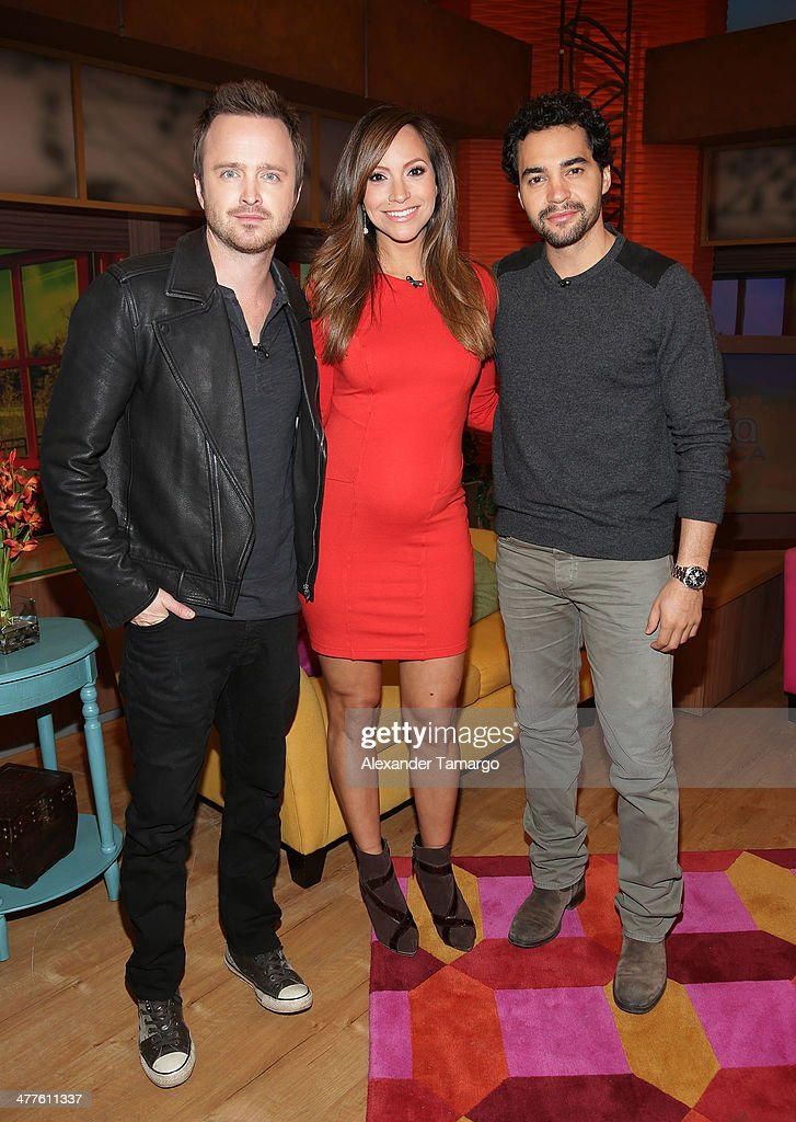 <a gi-track='captionPersonalityLinkClicked' href=/galleries/search?phrase=Aaron+Paul+-+Actor&family=editorial&specificpeople=693211 ng-click='$event.stopPropagation()'>Aaron Paul</a>, <a gi-track='captionPersonalityLinkClicked' href=/galleries/search?phrase=Satcha+Pretto&family=editorial&specificpeople=2473723 ng-click='$event.stopPropagation()'>Satcha Pretto</a> and <a gi-track='captionPersonalityLinkClicked' href=/galleries/search?phrase=Ramon+Rodriguez&family=editorial&specificpeople=73608 ng-click='$event.stopPropagation()'>Ramon Rodriguez</a> are seen on the set of Univision's Despierta America morning show to promote the movie 'Need for Speed' at Univision Headquarters on March 10, 2014 in Miami, Florida.