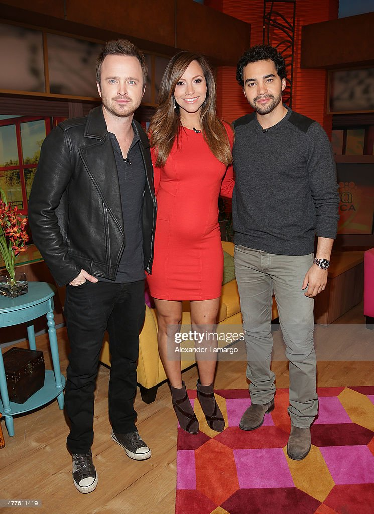 Aaron Paul, Satcha Pretto and Ramon Rodriguez are seen on the set of Univision's Despierta America morning show to promote the movie 'Need for Speed' at Univision Headquarters on March 10, 2014 in Miami, Florida.