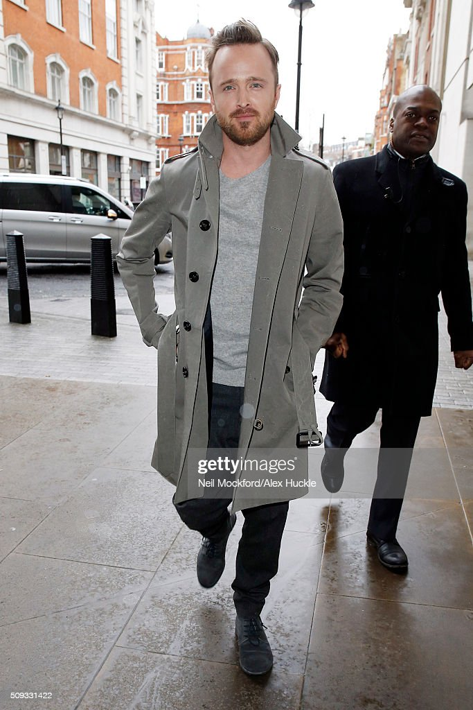 Aaron Paul seen arriving at the BBC Radio 1 Studios on February 10, 2016 in London, England.