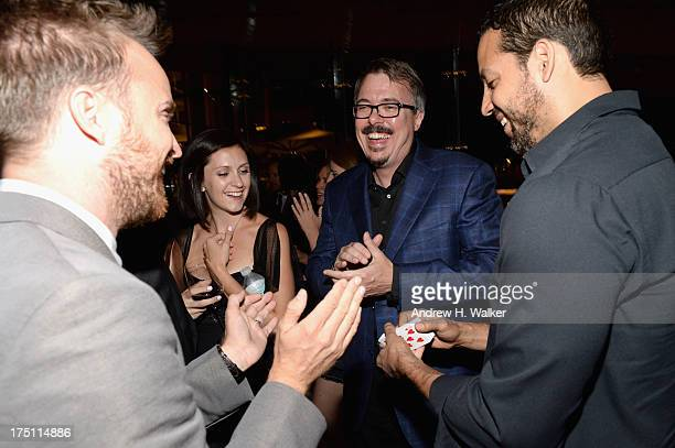 Aaron Paul Vince Gilligan and David Blaine attend the 'Breaking Bad' NY Premiere 2013 after party at Lincoln Ristorante on July 31 2013 in New York...