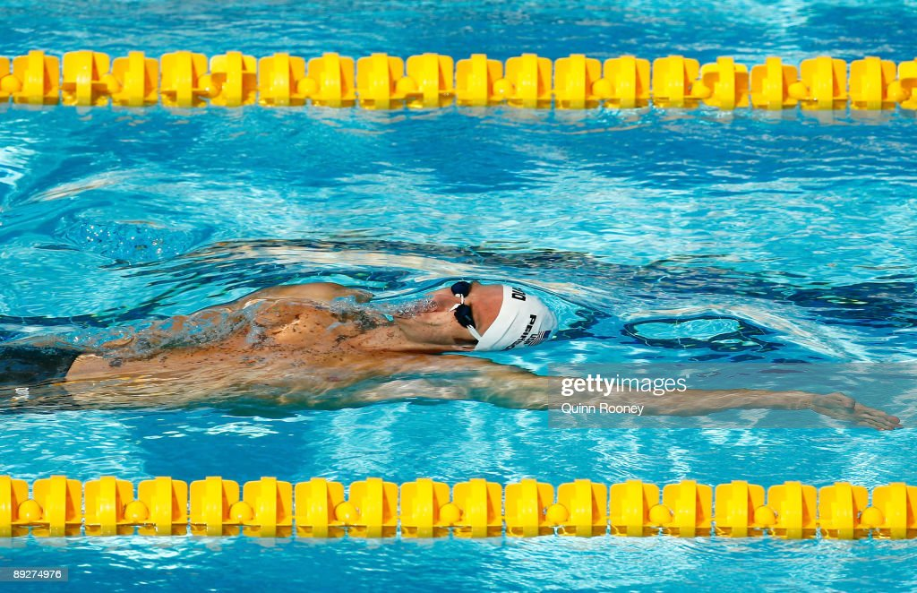 Aaron Peirsol of the United States competes in the Men's 100m Backstroke Heats during the 13th FINA World Championships at the Stadio del Nuoto on July 27, 2009 in Rome, Italy.