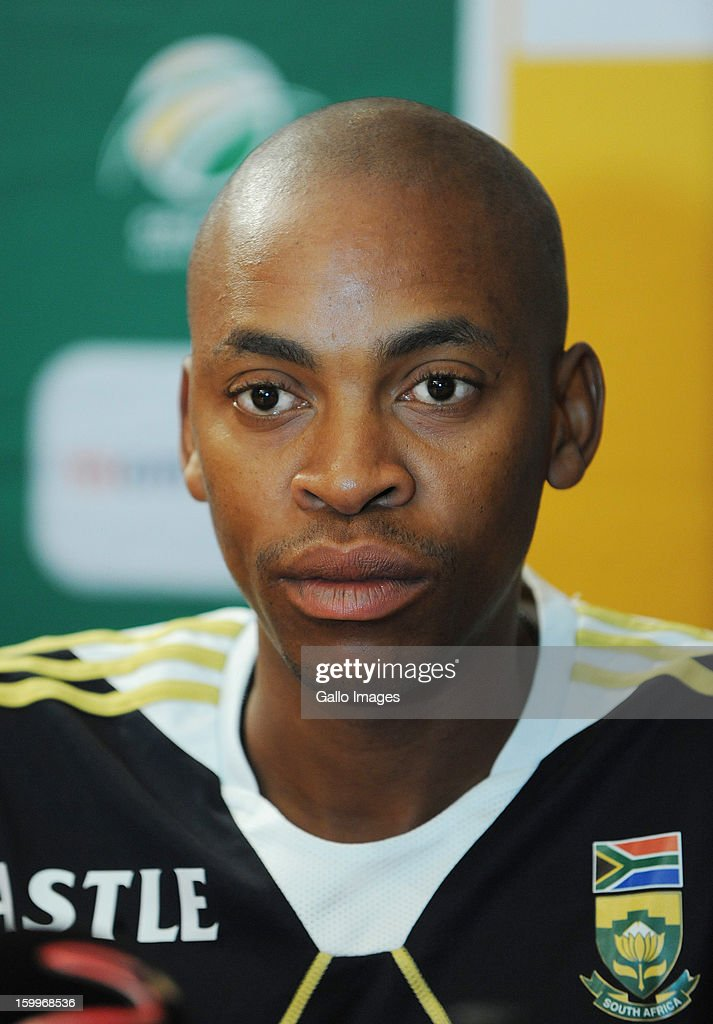 <a gi-track='captionPersonalityLinkClicked' href=/galleries/search?phrase=Aaron+Phangiso&family=editorial&specificpeople=7184692 ng-click='$event.stopPropagation()'>Aaron Phangiso</a> attends a South Africa national cricket team press conference at the Sandton Southern Sun Hotel on January 24, 2013 in Johannesburg, South Africa.