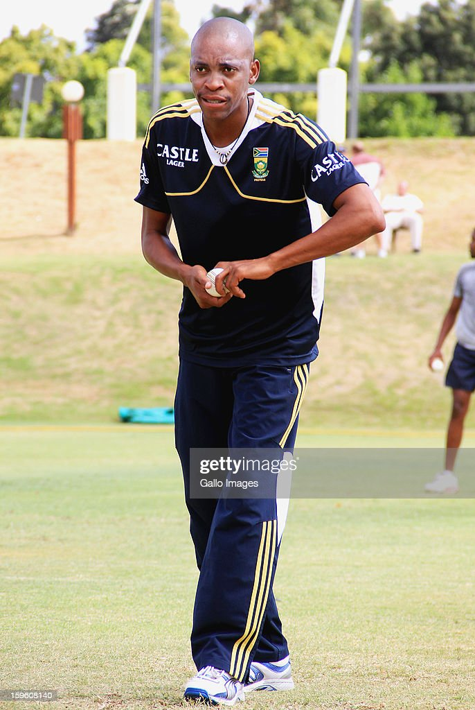 Aaron Phangiso attends the South African national cricket team nets session and press conference at Claremont Cricket Club on January 17, 2013 in Cape Town, South Africa.
