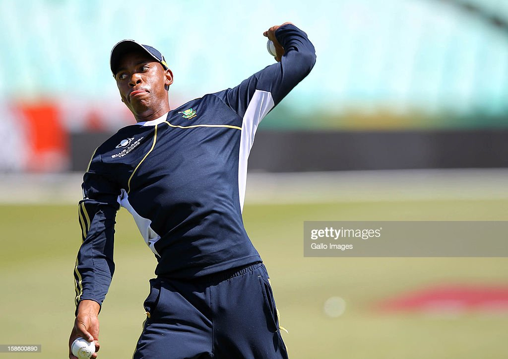 <a gi-track='captionPersonalityLinkClicked' href=/galleries/search?phrase=Aaron+Phangiso&family=editorial&specificpeople=7184692 ng-click='$event.stopPropagation()'>Aaron Phangiso</a> in action during the South Africa nets session from Sahara Park Kingsmead on December 20, 2012 in Durban, South Africa