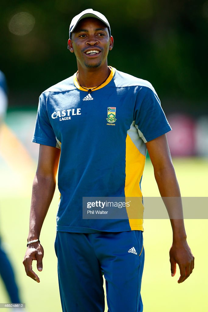 <a gi-track='captionPersonalityLinkClicked' href=/galleries/search?phrase=Aaron+Phangiso&family=editorial&specificpeople=7184692 ng-click='$event.stopPropagation()'>Aaron Phangiso</a> looks on during a South Africa nets session at Eden Park on March 5, 2015 in Auckland, New Zealand.