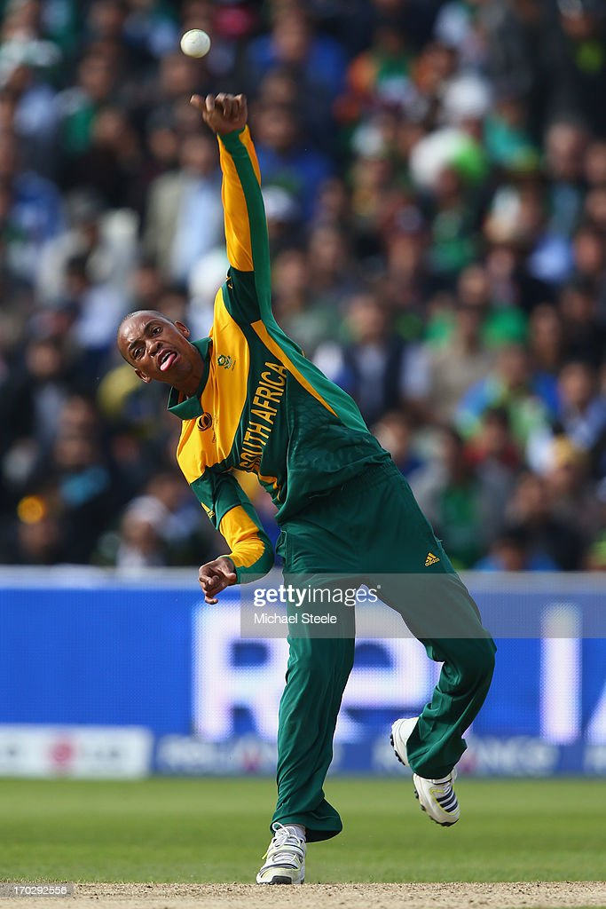 <a gi-track='captionPersonalityLinkClicked' href=/galleries/search?phrase=Aaron+Phangiso&family=editorial&specificpeople=7184692 ng-click='$event.stopPropagation()'>Aaron Phangiso</a> of South Africa during the ICC Champions Trophy Group B match between Pakistan and South Africa at Edgbaston on June 10, 2013 in Birmingham, England.