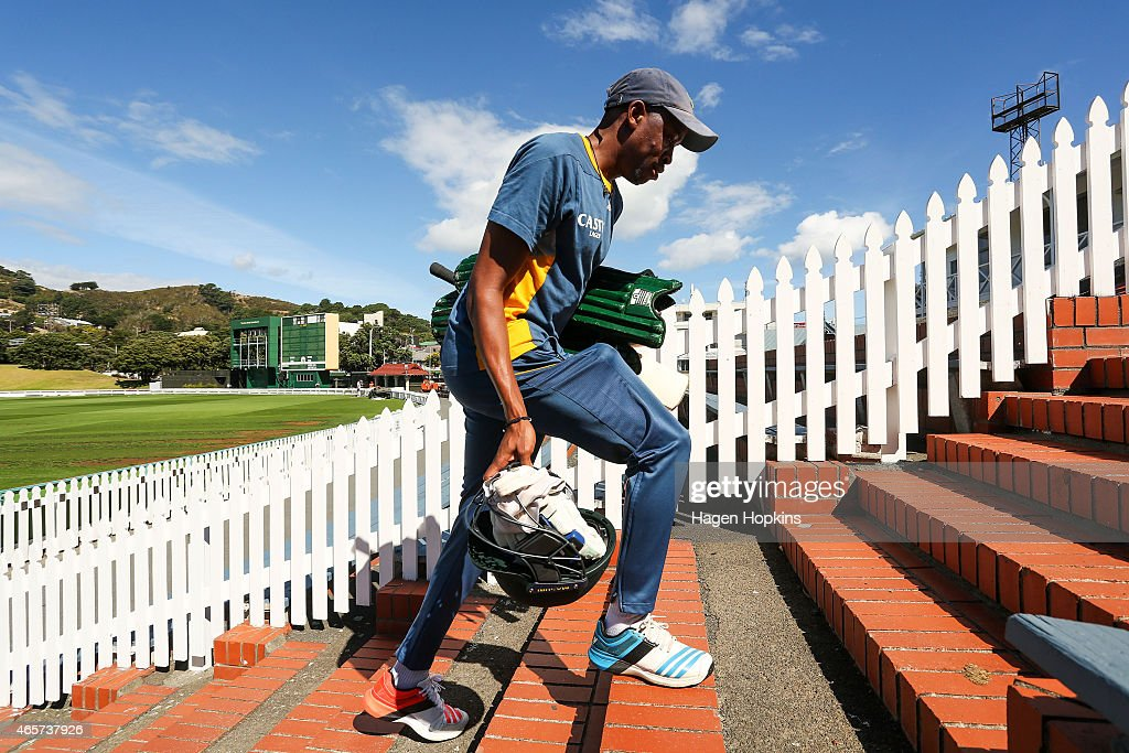 <a gi-track='captionPersonalityLinkClicked' href=/galleries/search?phrase=Aaron+Phangiso&family=editorial&specificpeople=7184692 ng-click='$event.stopPropagation()'>Aaron Phangiso</a> walks to the nets during a South African nets session at Basin Reserve on March 10, 2015 in Wellington, New Zealand.
