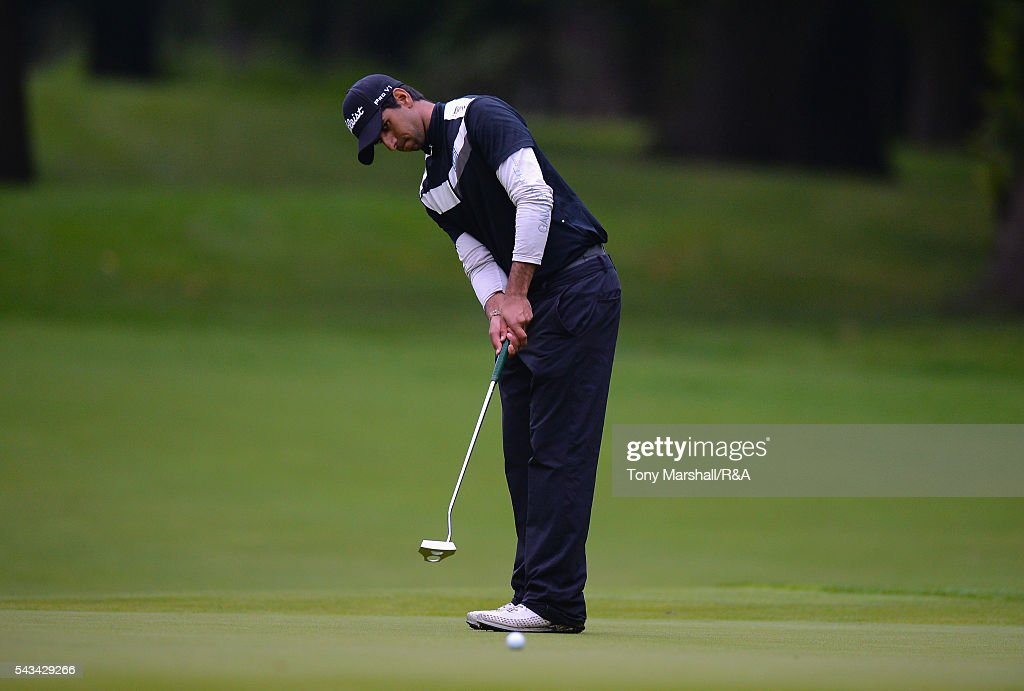 Aaron Ra of DCD Group putts on the first play-off hole during the Open Championship Qualifying - Woburn at Woburn Golf Club on June 28, 2016 in Woburn, England.