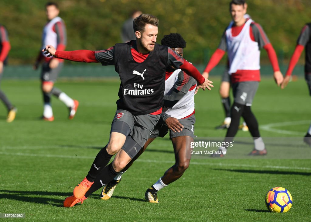 Aaron Ramsey and Ainsley Maitland-Niles of Arsenal during a training session at London Colney on October 27, 2017 in St Albans, England.