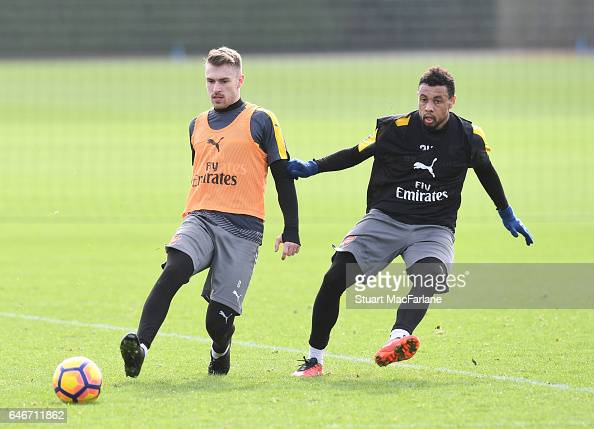 Aaron Ramsey and Francis Coquelin of Arsenal during a training session at London Colney on March 1 2017 in St Albans England