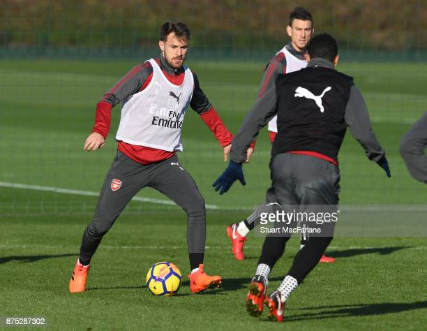 Aaron Ramsey and Francis Coquelin of Arsenal during a training session at London Colney on November 17 2017 in St Albans England