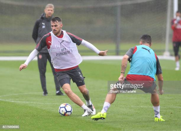 Aaron Ramsey and Granit Xhaka of Arsenal during a training session at London Colney on July 26 2017 in St Albans England
