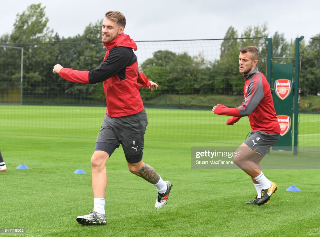 Aaron Ramsey and Jack Wilshere of Arsenal during a training session at London Colney on September 8, 2017 in St Albans, England.