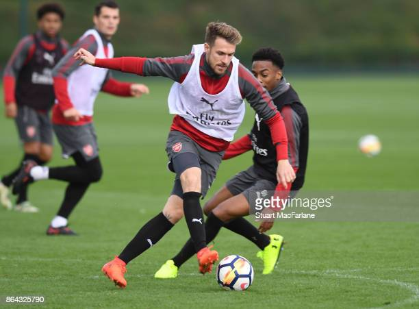 Aaron Ramsey and Joe Willock of Arsenal during a training session at London Colney on October 21 2017 in St Albans England