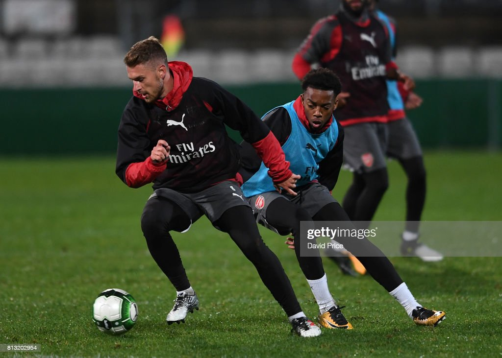 Aaron Ramsey and Joe Willock of Arsenal during the Arsenal Training Session at Koragah Oval on July 12, 2017 in Sydney, Australia.
