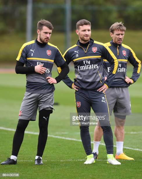 LR0 Aaron Ramsey and Shkodran Mustafi of Arsenal during a training session at London Colney on April 4 2017 in St Albans England