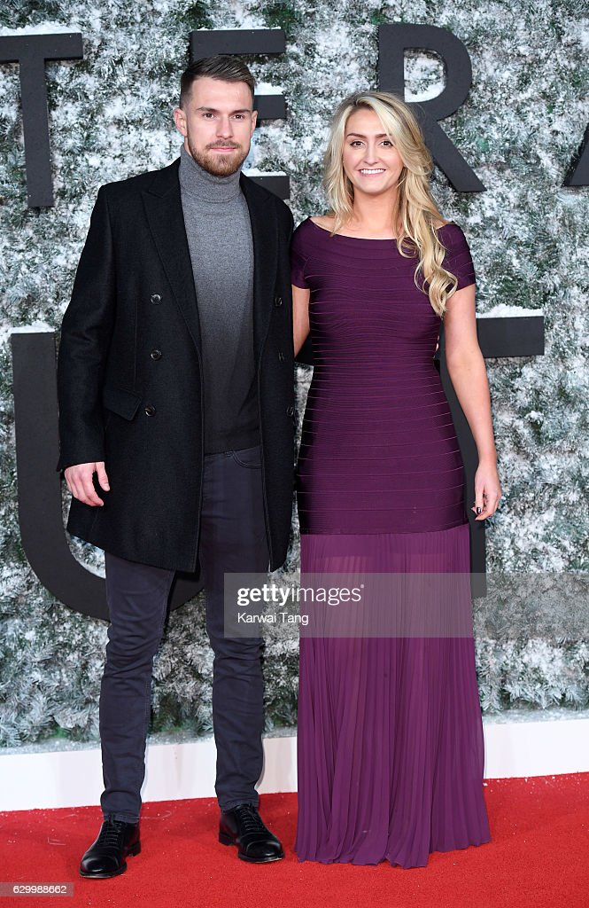 Aaron Ramsey and wife Colleen attend the European Premiere of 'Collateral Beauty' at Vue Leicester Square on December 15, 2016 in London, England.