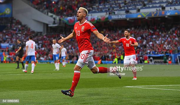 Aaron Ramsey celebrates after scoring his goal during the UEFA EURO 2016 Group B match between Russia and Wales at Stadium Municipal on June 20 2016...