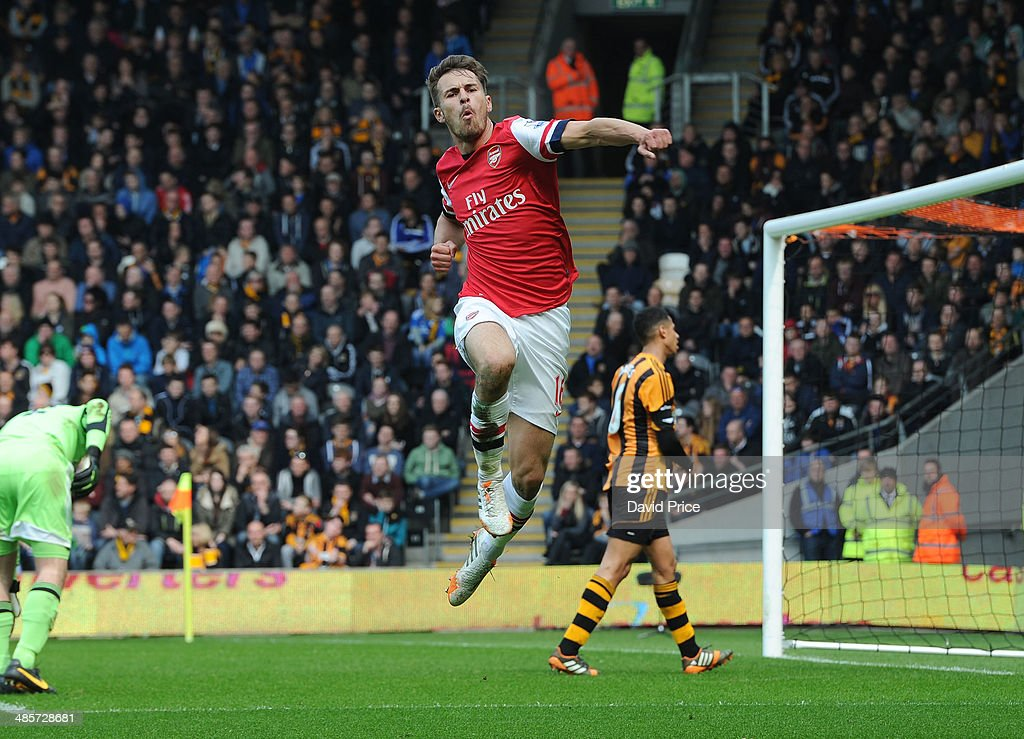 <a gi-track='captionPersonalityLinkClicked' href=/galleries/search?phrase=Aaron+Ramsey&family=editorial&specificpeople=4784114 ng-click='$event.stopPropagation()'>Aaron Ramsey</a> celebrates scoring a goal for Arsenal during the match between Hull City and Arsenal in the Barclays Premier League at KC Stadium on April 20, 2014 in Hull, England.