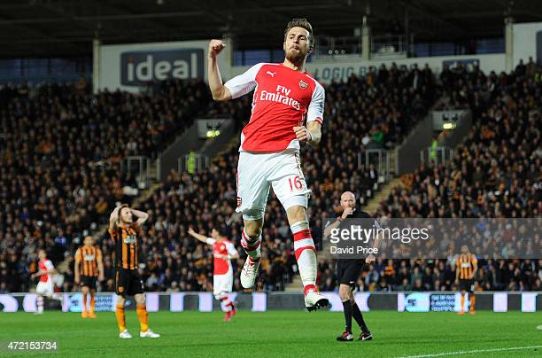 Aaron Ramsey celebrates scoring Arsenal's 2nd goal during the match between Hull City and Arsenal at KC Stadium on May 4 2015 in Hull England