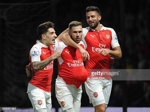 Aaron Ramsey celebrates scoring Arsenal's 3rd goal with Olivier Giroud and Hector Bellerin during the Barclays Premier League match between Watford...