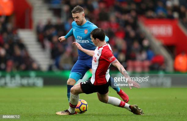 Aaron Ramsey of Arsenal an PierreEmile Hojbjerg of Southampton during the Premier League match between Southampton and Arsenal at St Mary's Stadium...
