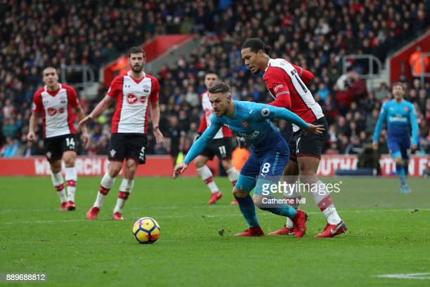 Aaron Ramsey of Arsenal and Virgil van Dijk of Southampton during the Premier League match between Southampton and Arsenal at St Mary's Stadium on...