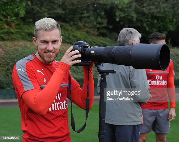 Aaron Ramsey of Arsenal before a training session at London Colney on October 21 2016 in St Albans England