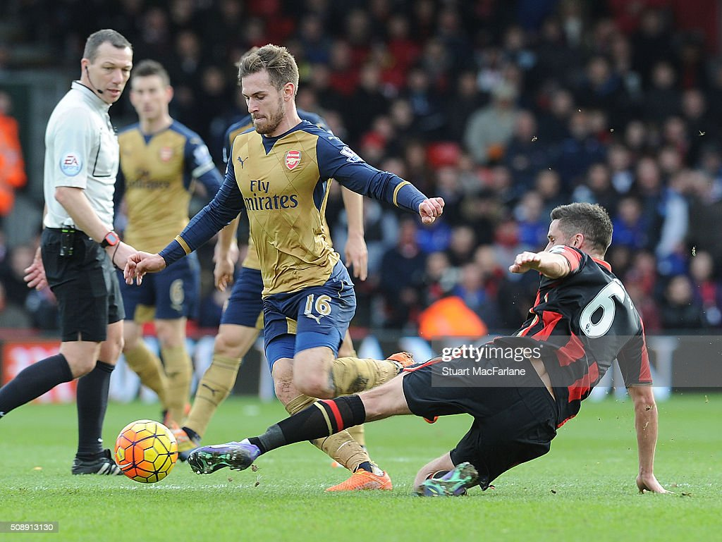 <a gi-track='captionPersonalityLinkClicked' href=/galleries/search?phrase=Aaron+Ramsey&family=editorial&specificpeople=4784114 ng-click='$event.stopPropagation()'>Aaron Ramsey</a> of Arsenal breaks past Andrew Surman of Bournemouth during the Barclays Premier League match between AFC Bournemouth and Arsenal at The Vitality Stadium on February 7, 2016 in Bournemouth, England.