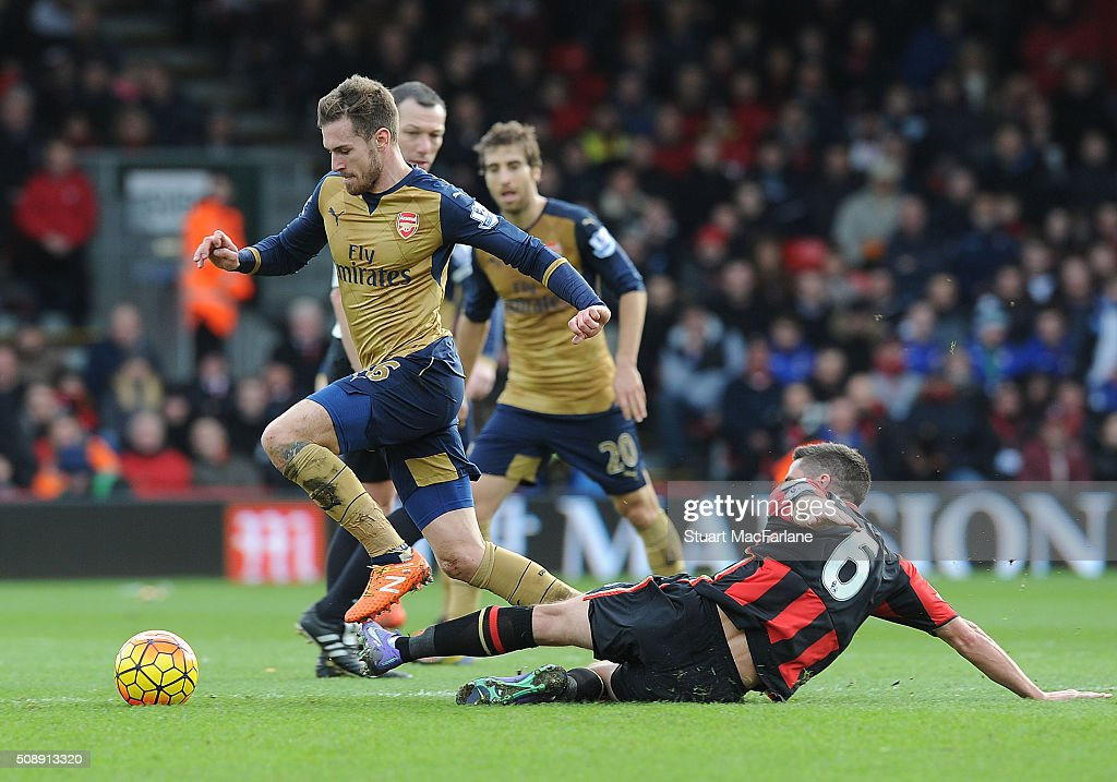 <a gi-track='captionPersonalityLinkClicked' href=/galleries/search?phrase=Aaron+Ramsey&family=editorial&specificpeople=4784114 ng-click='$event.stopPropagation()'>Aaron Ramsey</a> of Arsenal breaks past Andrew Surman of Bournemouth during the Barclays Premier League match between AFC Bournemouth and Arsenal at The Vitality Stadium on February 7, 2016 in Bournemouth, England. (Photo by Stuart MacFarlane/Arsenal FC via Getty Images