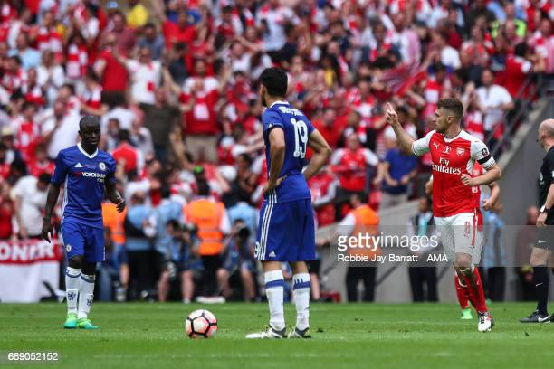 Aaron Ramsey of Arsenal celebrates after scoring a goal to make it 21 during the Emirates FA Cup Final match between Arsenal and Chelsea at Wembley...