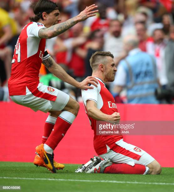 Aaron Ramsey of Arsenal celebrates after scoring to make it 21 during the Emirates FA Cup Final match between Arsenal and Chelsea at Wembley Stadium...