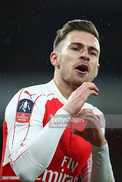Aaron Ramsey of Arsenal Celebrates Scoring Arsenal's second goal during the Emirates FA Cup Third Round match bewtween Arsenal and Sunderland at...