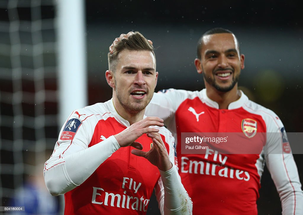 Aaron Ramsey of Arsenal Celebrates Scoring Arsenal's second goal during the Emirates FA Cup Third Round match bewtween Arsenal and Sunderland at Emirates Stadium on January 9, 2016 in London, England.