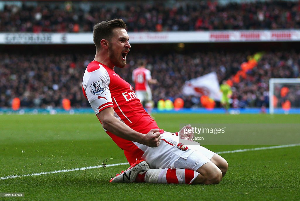 <a gi-track='captionPersonalityLinkClicked' href=/galleries/search?phrase=Aaron+Ramsey&family=editorial&specificpeople=4784114 ng-click='$event.stopPropagation()'>Aaron Ramsey</a> of Arsenal celebrates scoring his team's second goal during the Barclays Premier League match between Arsenal and West Ham United at Emirates Stadium on March 14, 2015 in London, England.