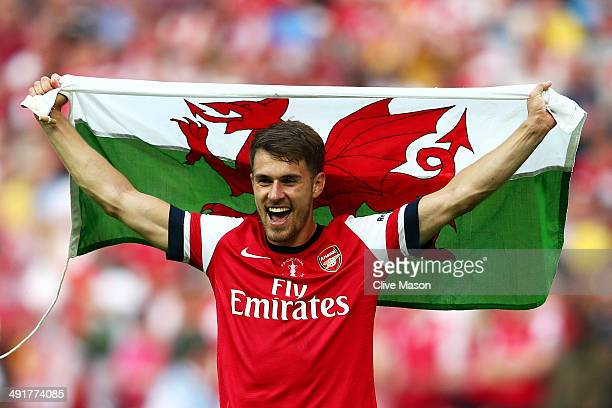 Aaron Ramsey of Arsenal celebrates victory after the FA Cup with Budweiser Final match between Arsenal and Hull City at Wembley Stadium on May 17...
