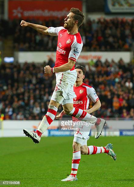 Aaron Ramsey of Arsenal celebrates with Hector Bellerin as he scores their second goal during the Barclays Premier League match between Hull City and...