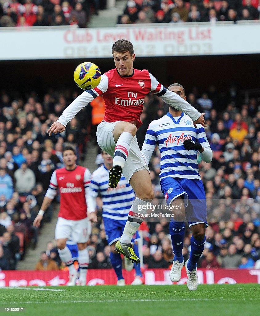 <a gi-track='captionPersonalityLinkClicked' href=/galleries/search?phrase=Aaron+Ramsey&family=editorial&specificpeople=4784114 ng-click='$event.stopPropagation()'>Aaron Ramsey</a> of Arsenal competes during the Barclays Premier League match between Arsenal and Queens Park Rangers, at Emirates Stadium on October 27, 2012 in London, England.